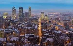 Montreal winter at dusk