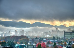 Vancouver city and mountains
